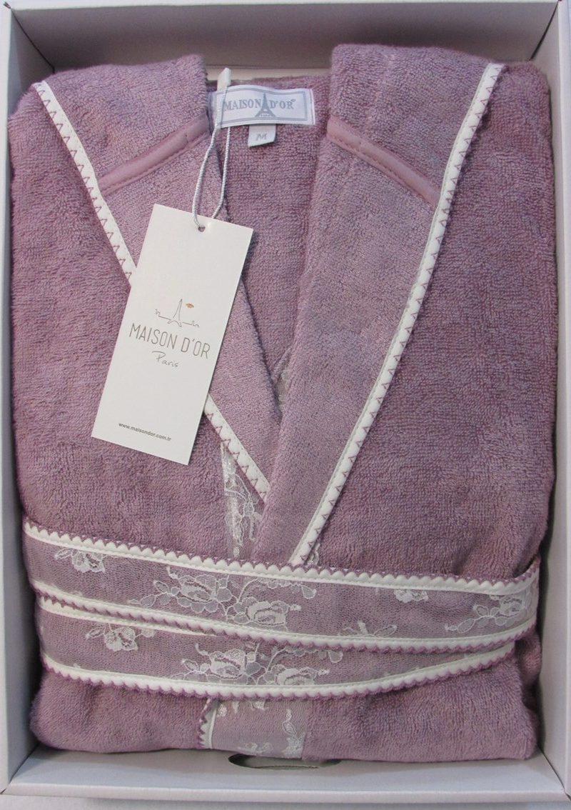 Бамбуковый халат с капюшоном Vassago (сиреневый)