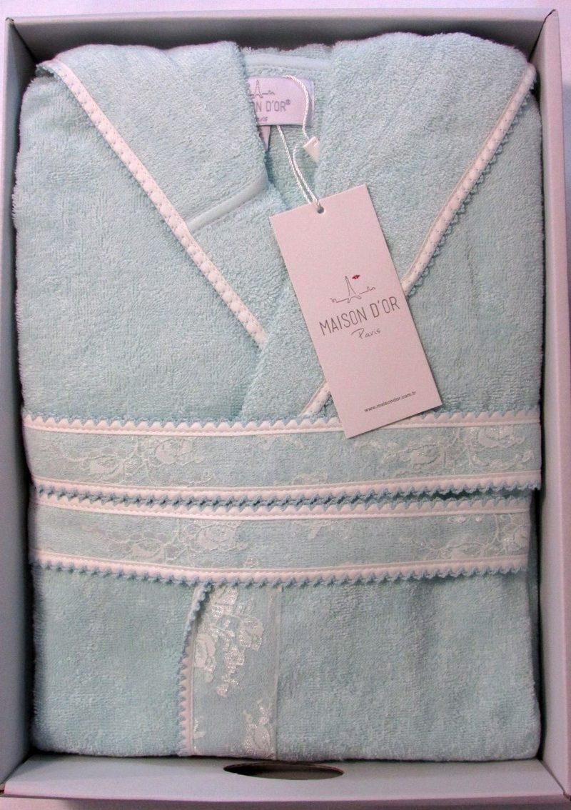 Бамбуковый халат с капюшоном Vassago (бирюза)