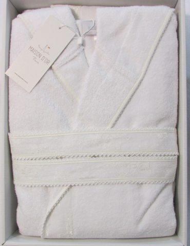 Бамбуковый халат с капюшоном Vassago (белый)