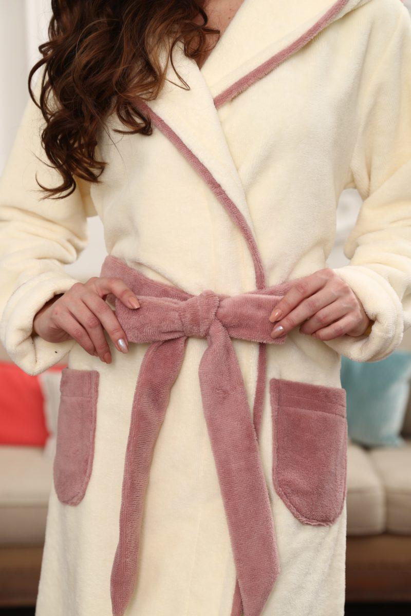 Juliette короткий женский бамбуковый халат (крем)