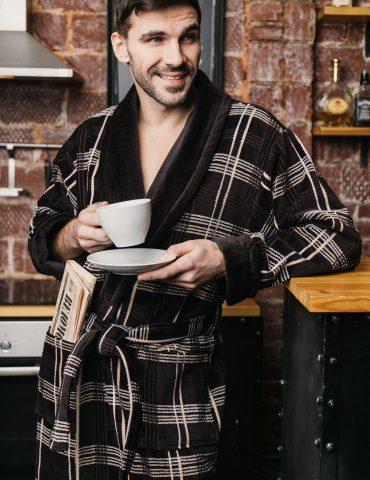 Классический длинный мужской халат Cotton Lux (504)