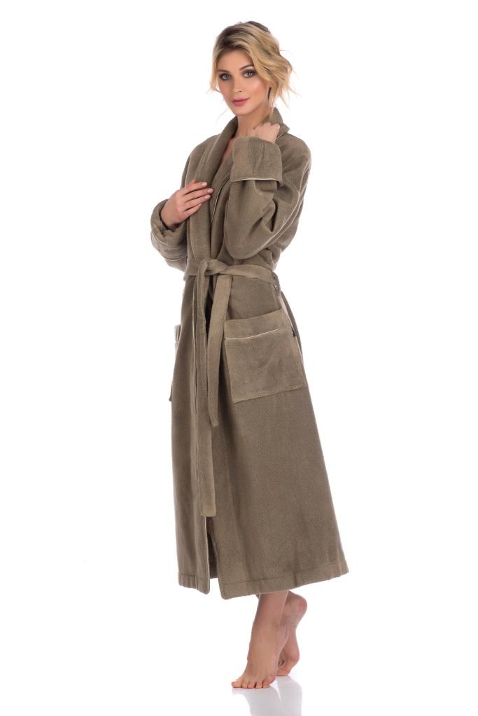 Махровый халат из микро-хлопка PAOLA (оливковый)