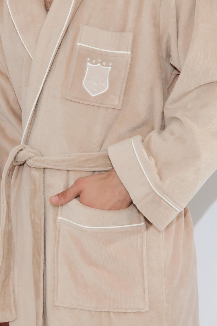 Махровый халат класса Люкс с тапочками Boss Well (бежевый)