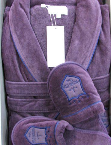 Махровый халат класса Люкс с тапочками Boss Well (фиолетовый)