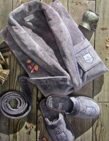 Махровый халат класса Люкс с тапочками Boss Well (серый)