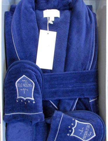 Махровый халат класса Люкс с тапочками Boss Well (синий)