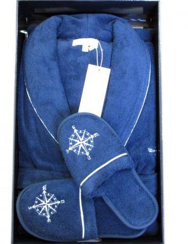 Махровый халат с тапочками Marine Club (синий) - шалька