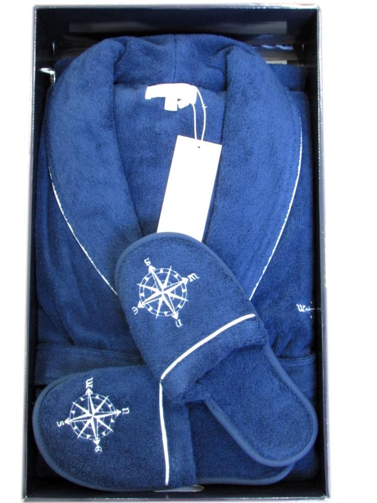 Махровый халат с тапочками Marine Club (синий)