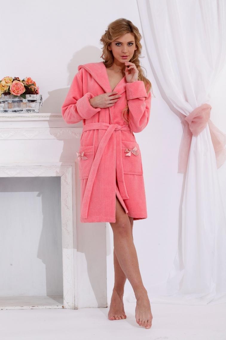 Махровый халат с капюшоном Comprimé (коралл)