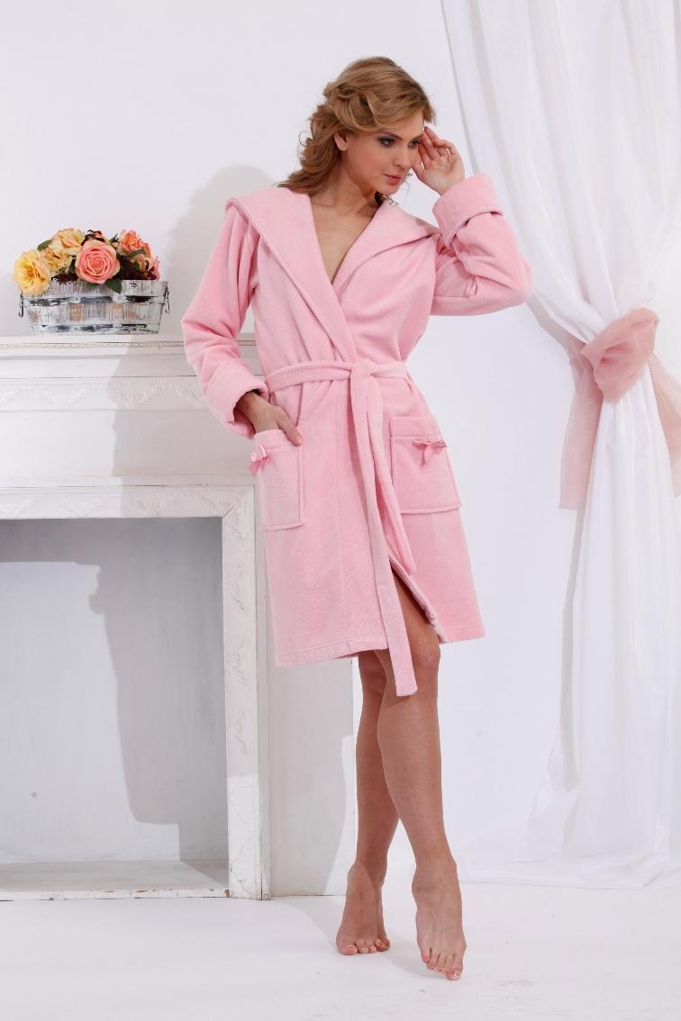Махровый халат с капюшоном Comprimé (розовый)