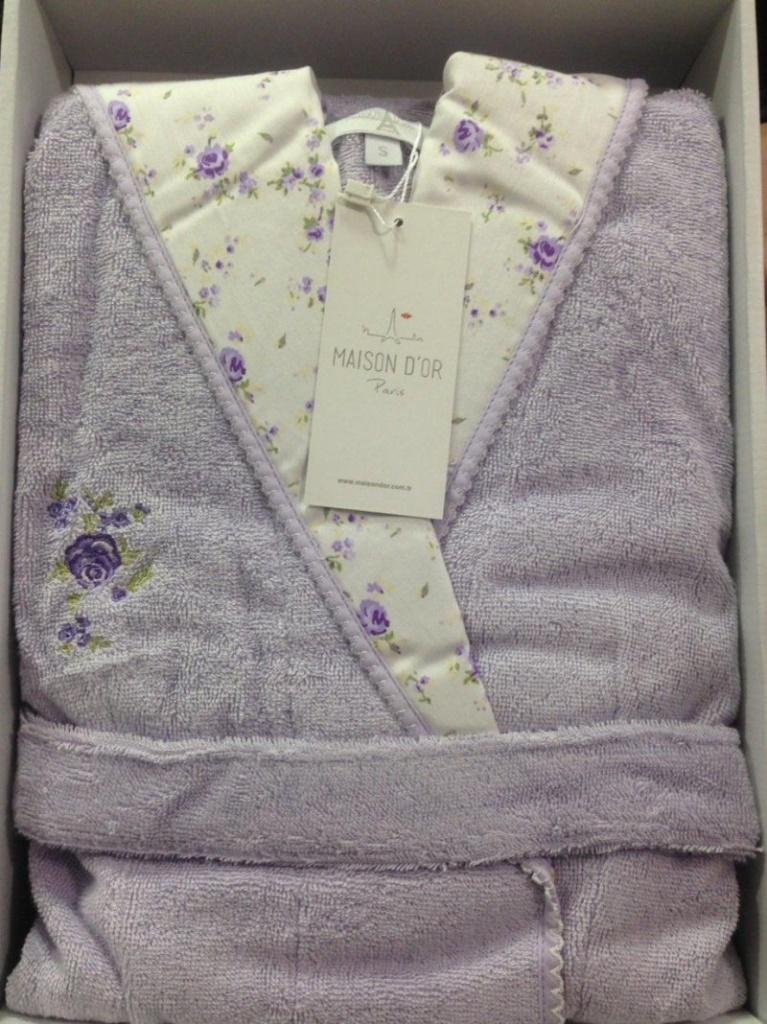 Молодежный бамбуковый халат с капюшоном Roses (лиловый)