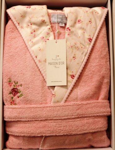 Молодежный бамбуковый халат с капюшоном Roses (сухая роза)