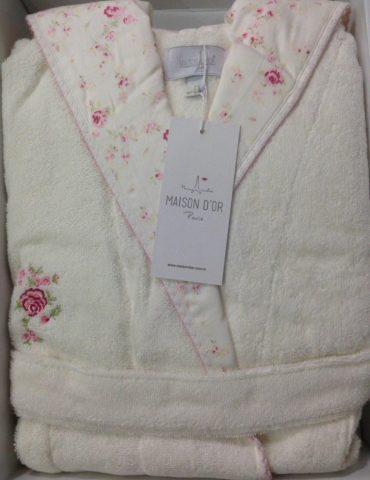 Молодежный бамбуковый халат с капюшоном Roses (кремовый)