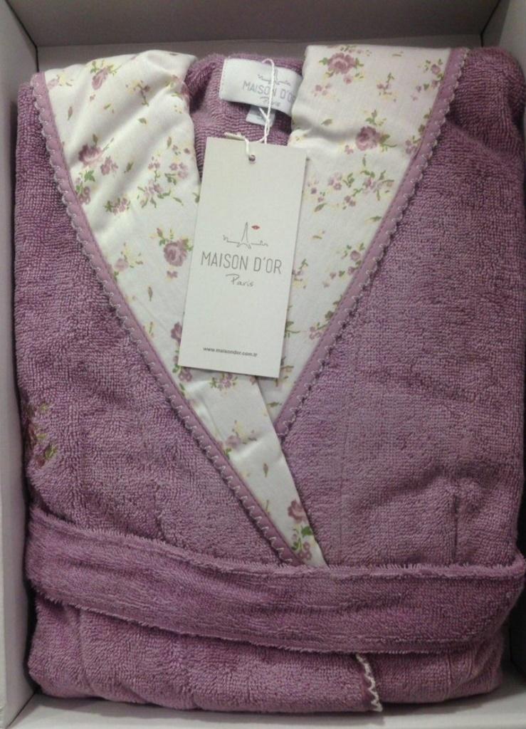 Молодежный бамбуковый халат с капюшоном Roses (сиреневый)