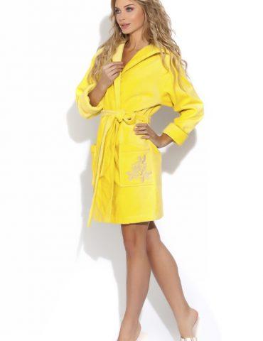 Нежный махровый халат с капюшоном Le Rosé (желтый)