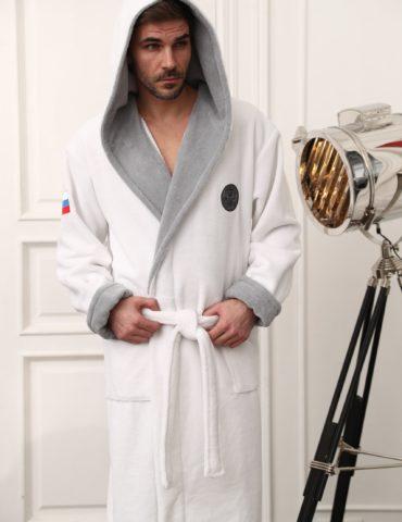 Russia мужской бамбуковый халат с капюшоном (белый)