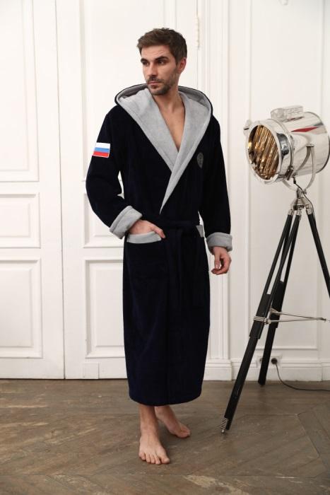 Russia мужской бамбуковый халат с капюшоном (синий)