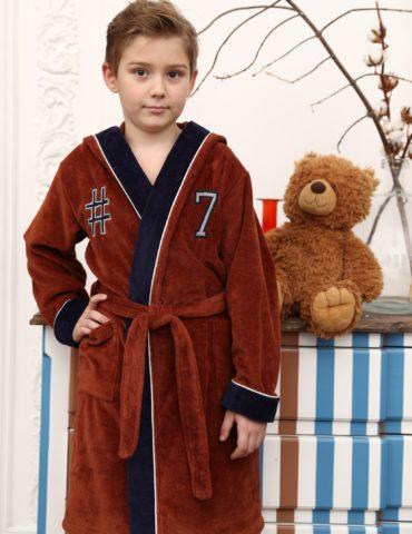 SEVEN спортивный подростковый халат (коричневый)