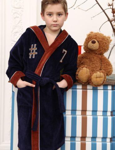SEVEN спортивный подростковый халат (синий)