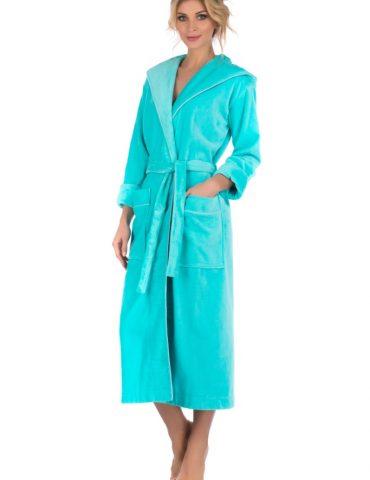 Стильный махровый халат с капюшоном Beaute  (ментол)