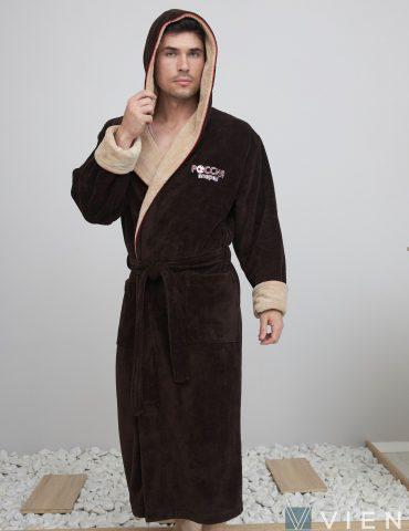 Россия вперед (шоколад) мужской бамбуковый халат с капюшоном