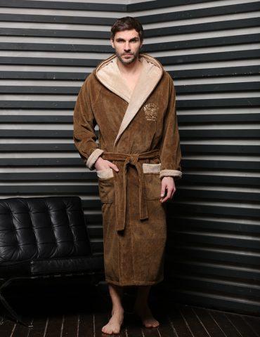 Халат ATHLETIC (табак) спортивный мужской махровый халат с капюшоном