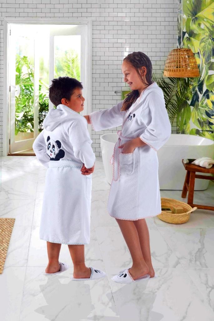 Махровый халат для девочек с тапочками Luna