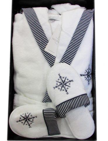 Махровый халат с капюшоном Мarin Club (белый) + тапочки