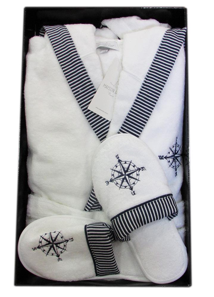 Махровый халат с капюшоном Мarine Club (белый) + тапочки