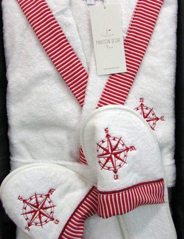 Махровый халат с капюшоном Мarine Club (красный) + тапочки