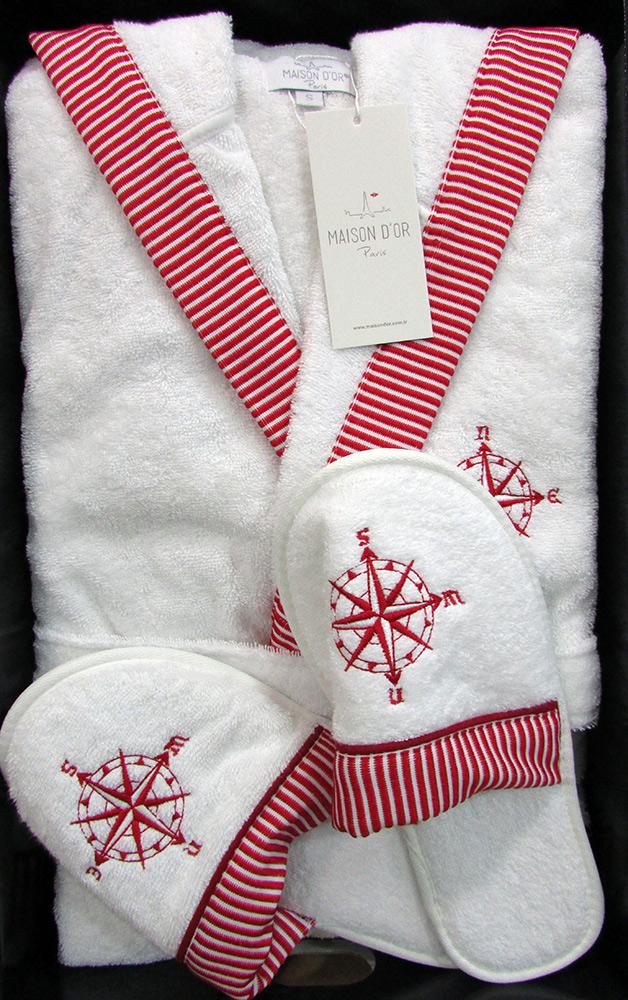 Махровый халат с капюшоном Мarin Club (красный) + тапочки