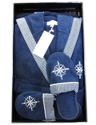 Махровый халат с капюшоном Мarine Club (синий) + тапочки