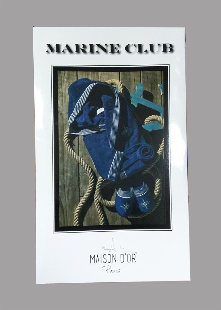 Махровый халат с капюшоном Мarin Club (синий) + тапочки
