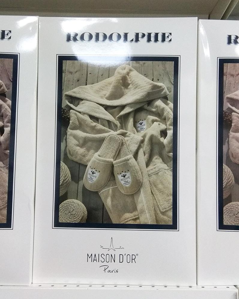 Махровый халат с тапочками Rodolphe (Рудольф) - синий