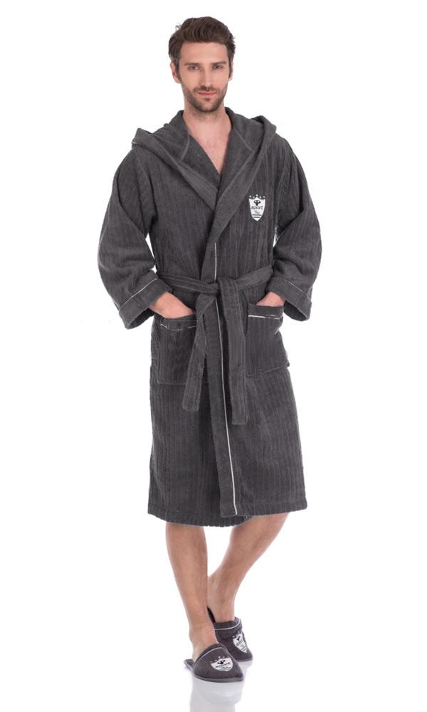 Махровый халат с тапочками Rodolphe (серый)
