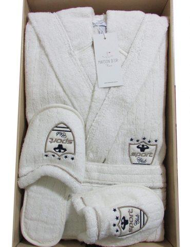 Махровый халат с тапочками Rodolphe (Рудольф) - крем