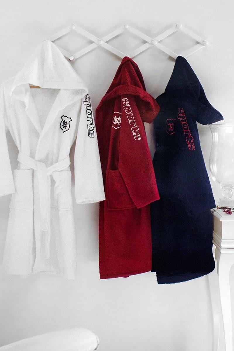 Подростковый халат c капюшоном класса премиум Sports Teen (белый)