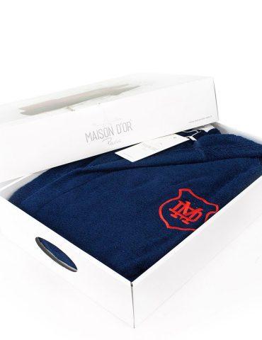 Подростковый халат c капюшоном класса премиум Sports Teen (синий)