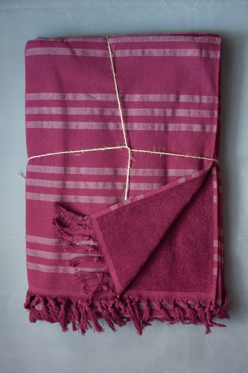 Пештемаль - полотенце для бани и сауны, простынь, накидка PESTEMAL VIOLETTA (бордо)