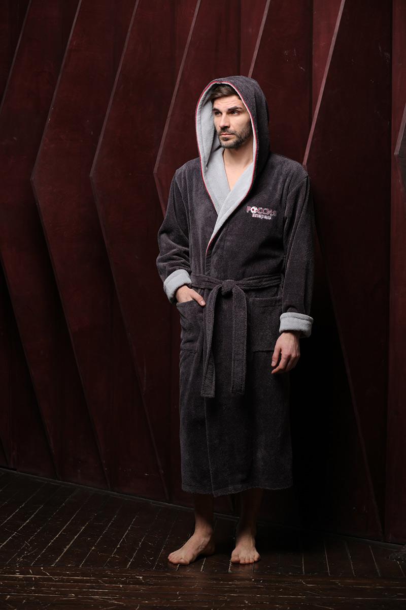 Россия вперед (антрацит - 1) мужской бамбуковый халат с капюшоном