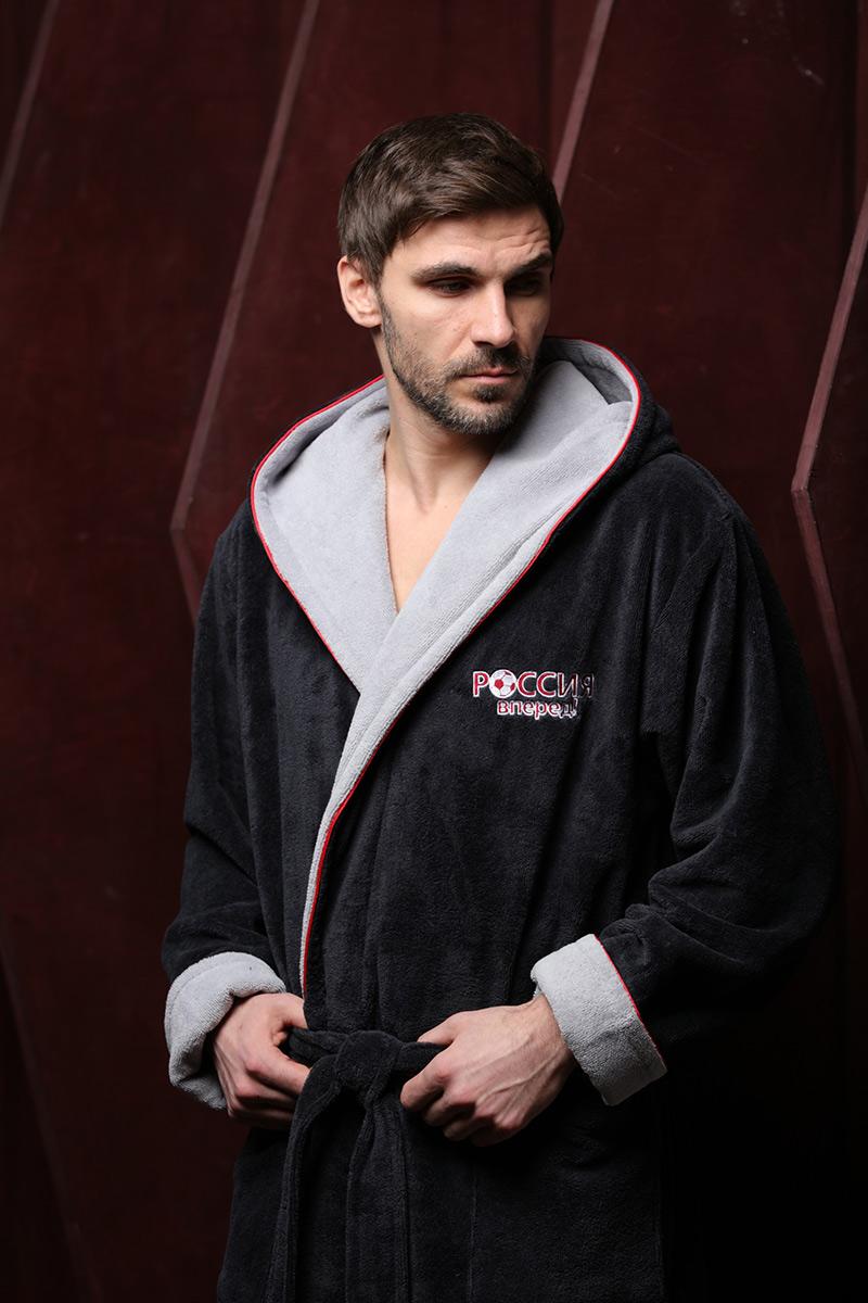 Россия вперед (антрацит) мужской бамбуковый халат с капюшоном