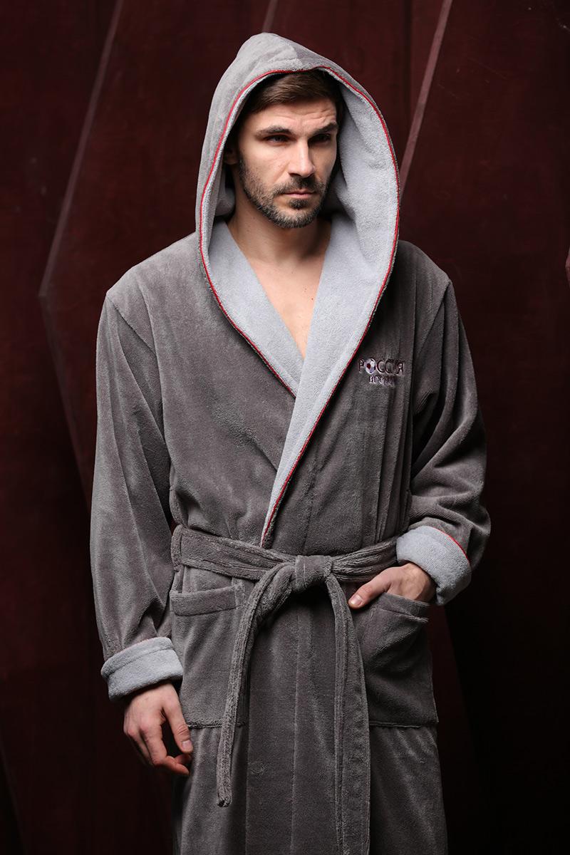 Россия вперед (серый) мужской бамбуковый халат с капюшоном