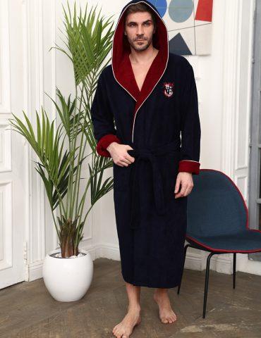 Wien Club (синий) мужской бамбуковый халат