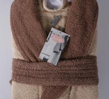 """Набор халат махровый мужской """"KARNA"""" с полотенцем ADRA (серый)"""
