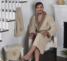 """Набор халат махровый мужской """"KARNA"""" с полотенцем ADRA (бежевый)"""