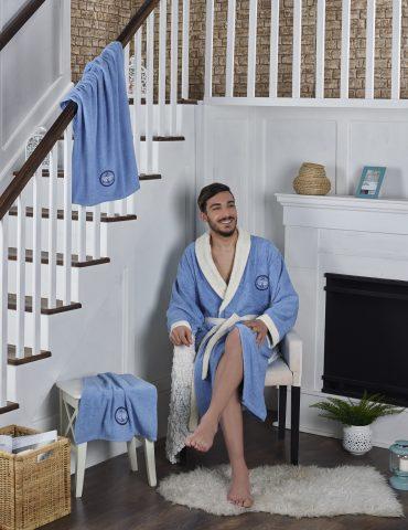 """Набор халат махровый мужской """"KARNA"""" с полотенцем ADRA (голубой)"""