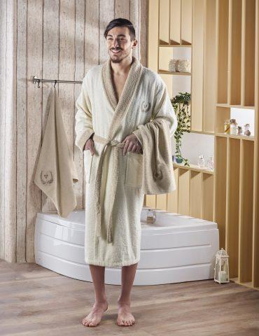 """Набор халат махровый мужской """"KARNA"""" с полотенцем ADRA (кремовый)"""