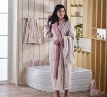 Набор халат махровый с полотенцем ADRA (пудра)