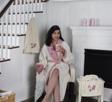 Набор халат махровый с полотенцем ADRA (молочный)