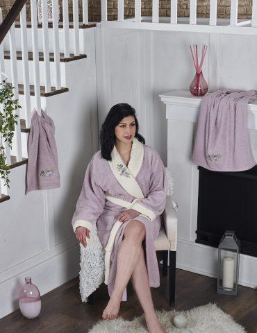 Набор халат махровый с полотенцем ADRA (светло-лаванда)